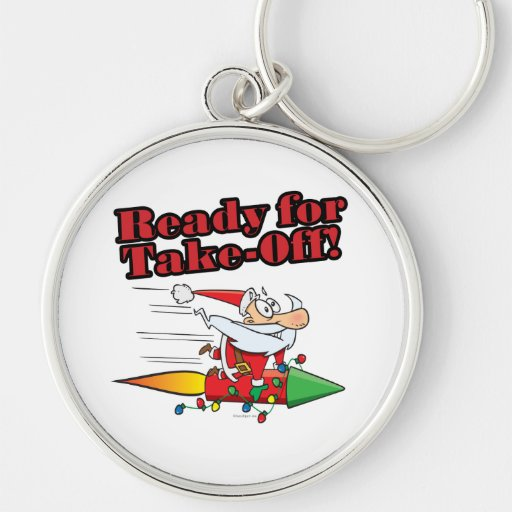 ready for take off rocket santa cartoon Silver-Colored round keychain