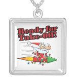 ready for take off rocket santa cartoon necklaces