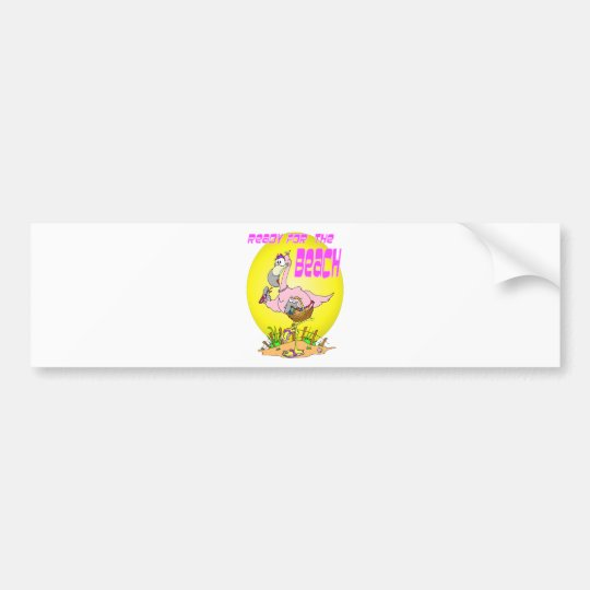 Ready for the BEACH Flamingo Bumper Sticker