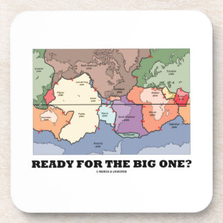 Ready For The Big One? (Plate Tectonics World Map) Beverage Coasters