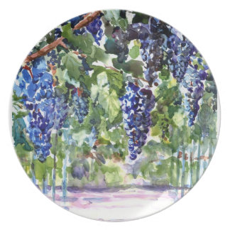 Ready for Wine - Grapes on Vine - Watercolor Party Plates