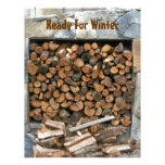 Ready for Winter Woodpile Scrapbooking Paper Letterhead Template