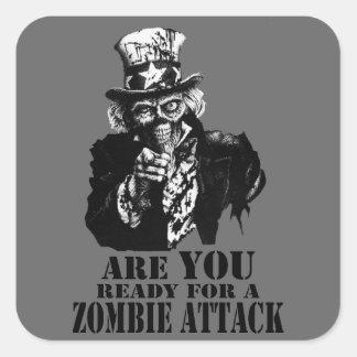Ready For Zombie Attack Square Sticker