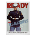 Ready Join U.S. Marines Vintage Military Poster