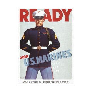 Ready Join U.S. Marines Vintage Military Poster Canvas Print