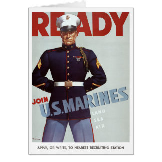 Ready Join U.S. Marines Vintage Military Poster Card