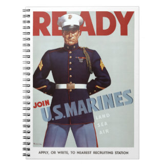Ready Join U.S. Marines Vintage Military Poster Note Book