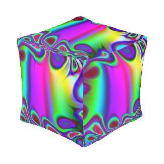 Ready Rainbow Fractal Cube Pouf