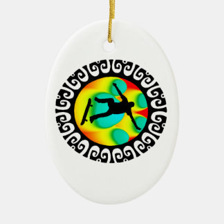 READY THE SESSION Double-Sided OVAL CERAMIC CHRISTMAS ORNAMENT