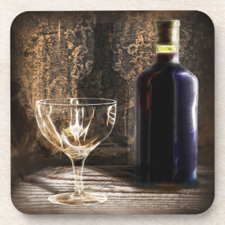 Ready to be served  red wine  and empty wine glass coaster