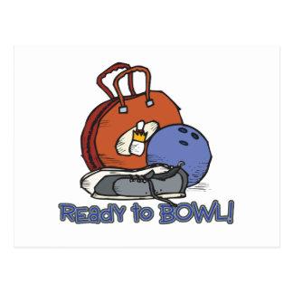 ready to bowl bowling design postcard