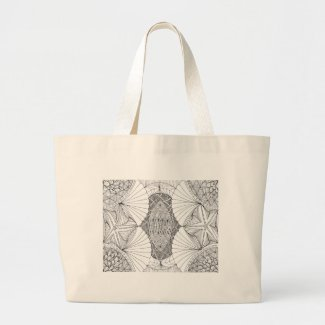 Ready to Color - Abstract Mysterious Sea Coloring Jumbo Tote Bag