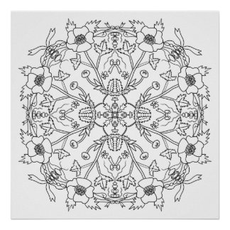 Ready to Color Buttercup Mandala Poster