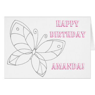 Ready to Color Butterfly Birthday Card