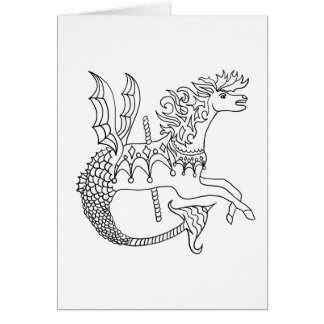 Ready to Color Carousel Seahorse Greeting Card