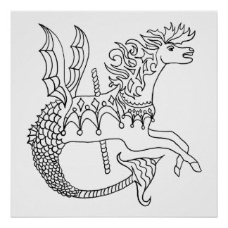 Ready to Color Carousel Seahorse Poster