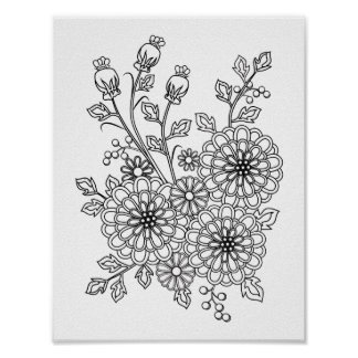 Ready to Color Fancy Floral Coloring Design Poster