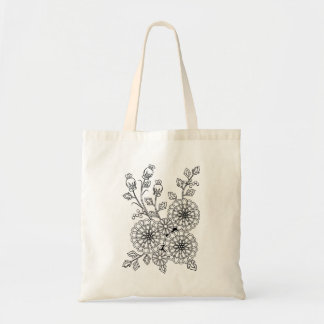 Ready to Color Fancy Floral Coloring Design Tote Bag