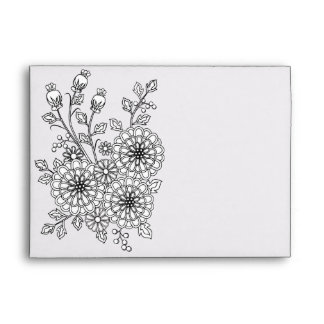 Ready to Color Fancy Floral Envelope