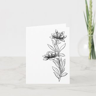 Ready To Color Floral Card