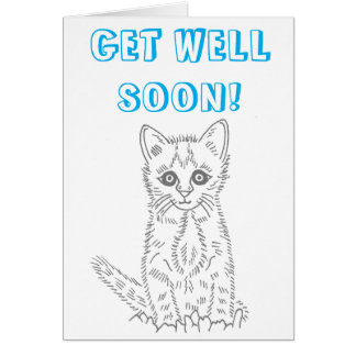 Ready to Color Get Well Soon Kitten Card
