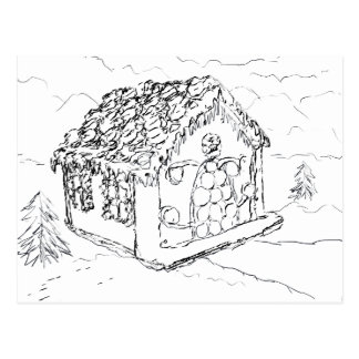Ready to Color Gingerbread House Postcard