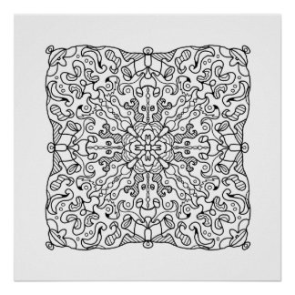 Ready to Color Hanky Mandala Poster