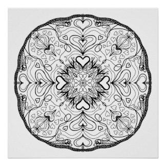 Ready to Color Hearts Mandala Poster