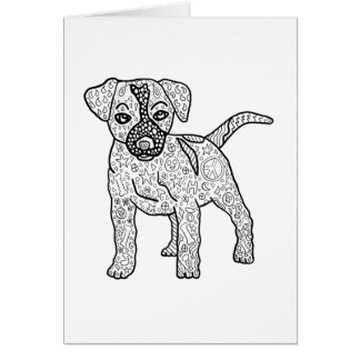 Ready to Color Hippie Puppy Dog Greeting Card