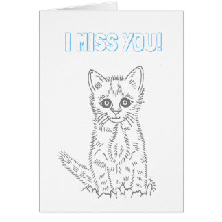 Ready to Color I Miss You Kitten Card