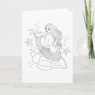 Ready to Color Millie the Mermaid Greeting Card