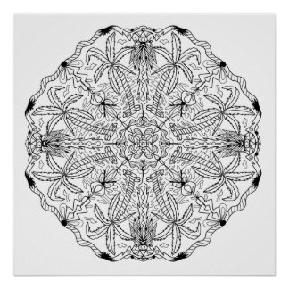 Ready to Color Palm Tree Mandala Poster