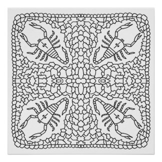 ready to color scorpion mandala poster - Posters To Color