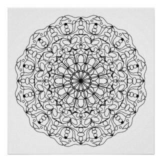 Ready to Color Tulip Mandala Poster