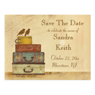 Ready To Fly Love Birds Save The Date Postcard