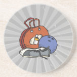 ready to go bowling equipment graphic drink coaster