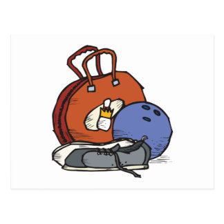 ready to go bowling equipment graphic postcard