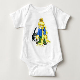 Ready to Go Outside - little girl and her cat Baby Bodysuit