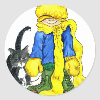 Ready to Go Outside - little girl and her cat Classic Round Sticker