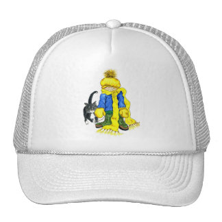 Ready to Go Outside - little girl and her cat Trucker Hat