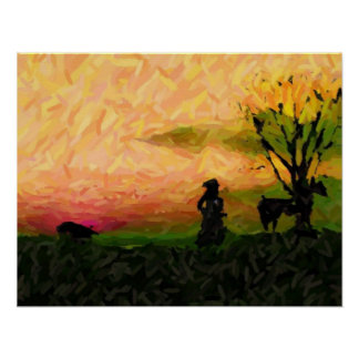 """Ready to Herd!~Border Collie Abstract Poster"