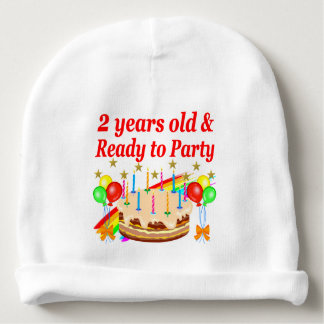 READY TO PARTY 2ND BIRTHDAY CAKE DESIGN BABY BEANIE