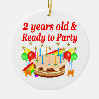 READY TO PARTY 2ND BIRTHDAY CAKE DESIGN CERAMIC ORNAMENT