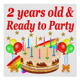 READY TO PARTY 2ND BIRTHDAY CAKE DESIGN POSTER