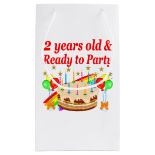READY TO PARTY 2ND BIRTHDAY CAKE DESIGN SMALL GIFT BAG