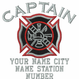 Ready to Personalize Captain Firefighter Badge Embroidered Shirt