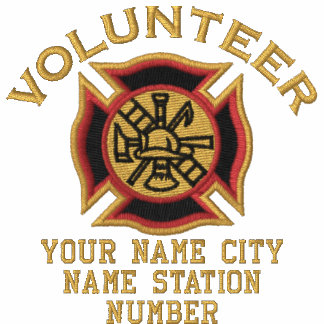 Ready to Personalize Volunteer Firefighter Badge Embroidered Shirt