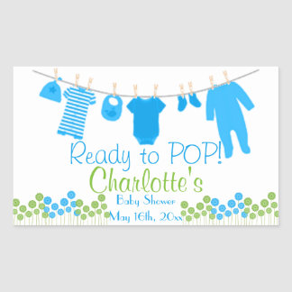 Ready to POP! Baby Clothesline Baby Shower Rectangular Sticker