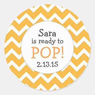 Ready to Pop Baby Shower Favor / orange chevron Classic Round Sticker