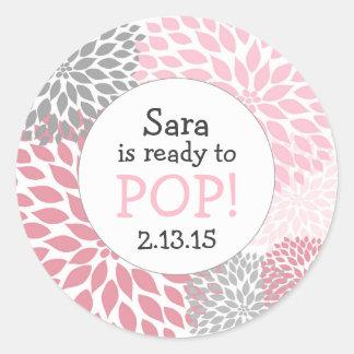 Ready to Pop Baby Shower Favor / pink dahlia mum Classic Round Sticker